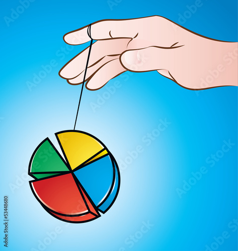 Yoyo / vector illustration of a hand playing with pie chart yoyo