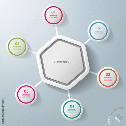 Infographic Hexagon Colorful Rings