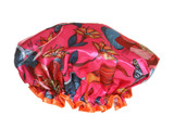 pink flowery shower cap