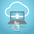 Modern laptop and cloud technology abstract illustration