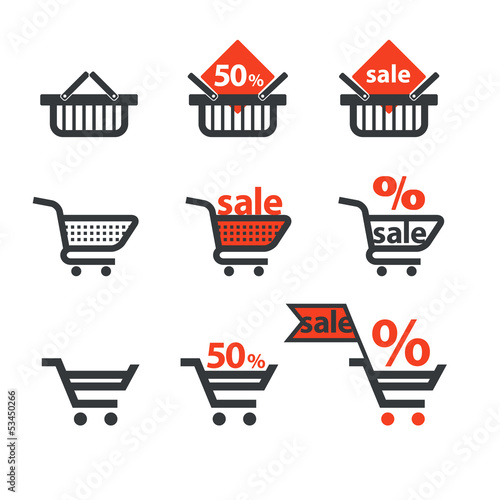 Dicsount icons with shopping cart and trolley