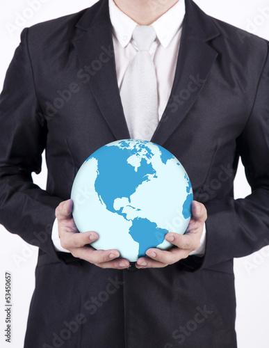 Close-up businessman hold world globe