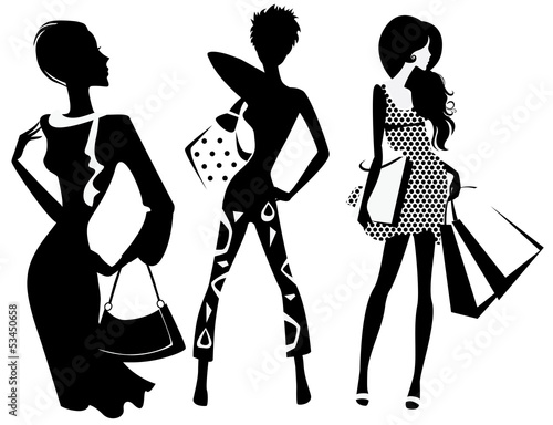 silhouette of fashion girl with bags - 53450658
