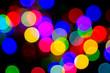 Defocused bokeh image of colorful christmas fairy lights