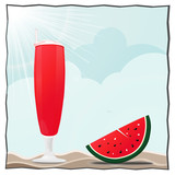 summer beach cocktail and watermelon illustration