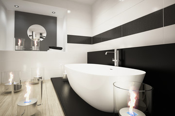 Modernes Badezimmer mit Badewanne und Kerzen