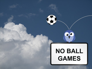 Comical no ball games sign
