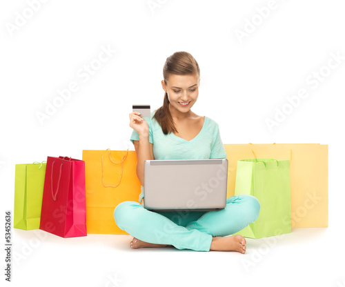 woman doing internet shopping