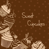 Background with sweet cupcakes