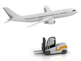 passenger airliner and forklift