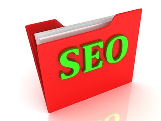 SEO bright green letters on a red folder