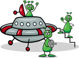 aliens with ufo cartoon illustration