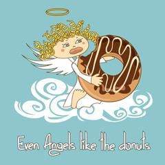 Illustration of Angel eating big donut