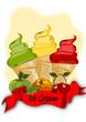 Eis , Eiscreme, Obst mit Banner
