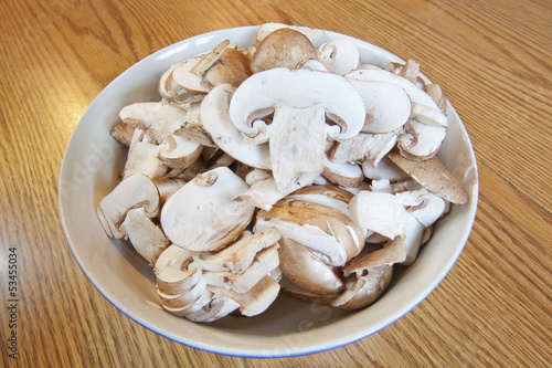 Bowl of Sliced Mushrooms