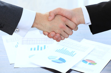 Business handshake and business people