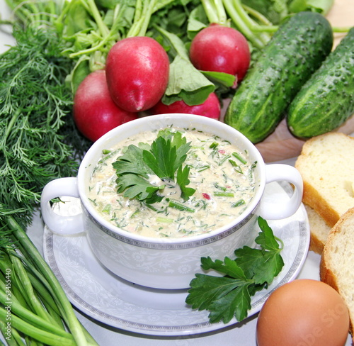 Russian cold soup - okroshka
