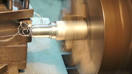 Turning lathe , turning out side aluminum with cutting tool