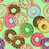 Seamless pattern of donuts