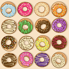 Icons of colorful donuts
