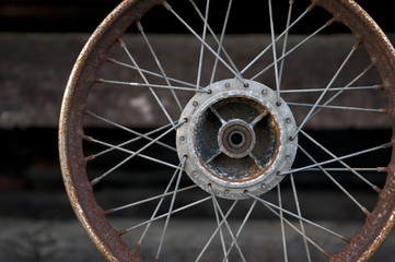 Old Rusty Bicycle Wheel