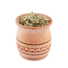 Rosemary in wooden bowl