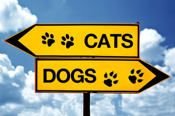 Cats or dogs, opposite signs