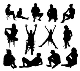 Set of sitting people silhouettes