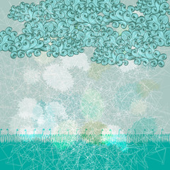 Abstract blue grunge greeting card with clouds and snow. Eps10