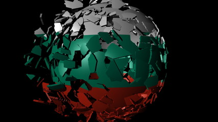 Bulgaria flag sphere combining and breaking apart animation