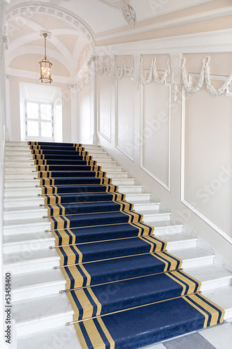 Stairwell in the Polish palace. Royal castle in Warsaw - 53458400