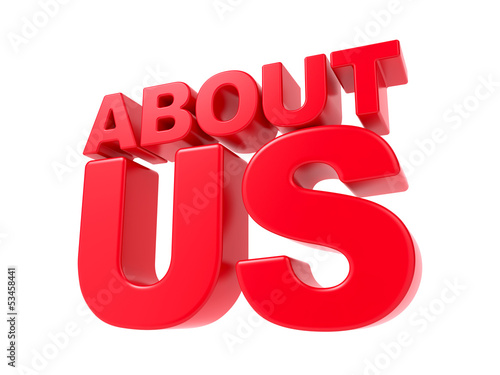 About Us - Red 3D Text.