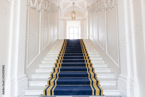 Stairwell in the Polish palace. Royal castle in Warsaw