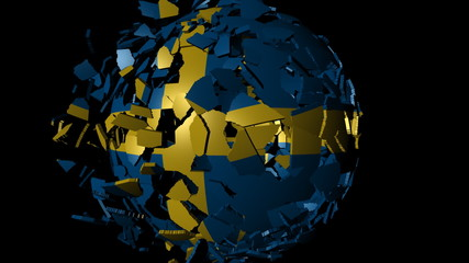 Sweden flag sphere combining and breaking apart animation