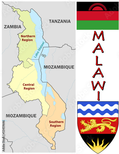 Malawi Africa national emblem map symbol motto