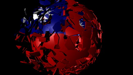 Taiwan flag sphere combining and breaking apart animation