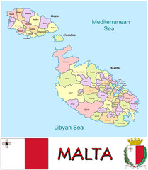 Malta Europa Africa national emblem map symbol motto