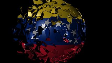 Venezuela flag sphere combining and breaking apart animation