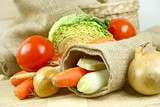 Fresh Vegetables in Linen