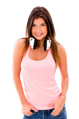 Casual woman with headphones