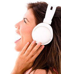 Happy woman loving music