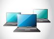 set of laptop computers illustration