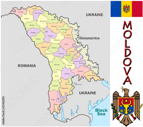 Moldova Europe national emblem map symbol motto