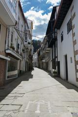 Narrow street of Pontedeume, Galicia, Spain