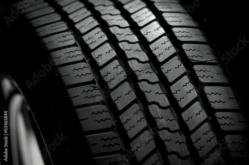Car Tire on Black