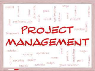Project Management Word Cloud Concept on a Whiteboard