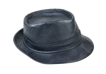 Black Leather Fedora Hat