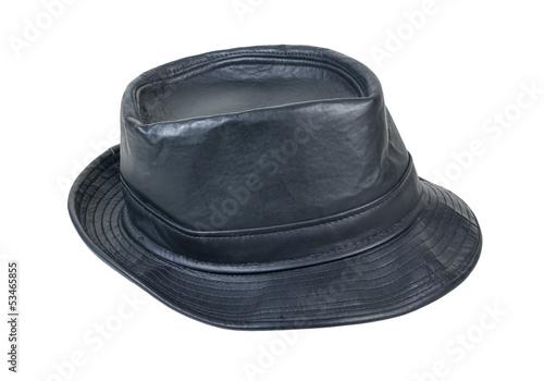 Black Leather Fedora Hat