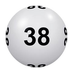 Loto, boule blanche numéro 38