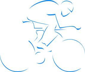Blue silhouette cyclist